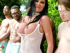 Busty British MILF Jasmine Jae is coated in sperm and spit