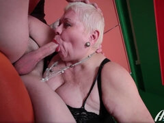 Fat mature slut sucking off young cock then gets anally fucked