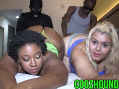 Interracial foursome with two hot big ass BBW ladies