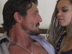 A chick with braided hair is getting penetrated by her stepdad
