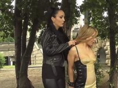 Rectal hoe in rubber dress in public