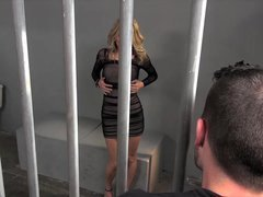 Hot jailbird step mom gives up cum bucket to stepson for bailing her out of jail