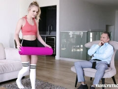 Sporty blonde in black shorts Natalie Knight  fucked by a big dong