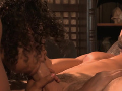 Black pornstar beauty Misty Stone likes being on top